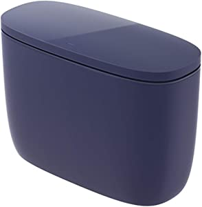 Joy Edition Mini Trash Can with Lid, Countertop Craft Table Desktop Office Kitchen Vanity, 100 Plastic Bags (Dark Blue-Value)