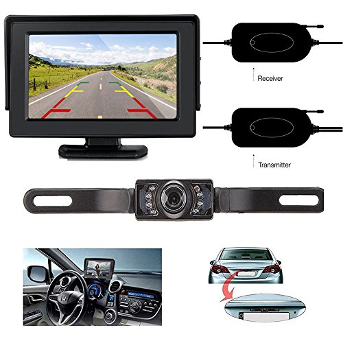 1/3 Cmos Color Camera (ZSMJ Wireless 9V-24V Rear View Backup Camera and Mirror Monitor Kit For Car/Vehicle/Truck / Van / Caravan / Trailers / Camper with 7 LED Night Vision)