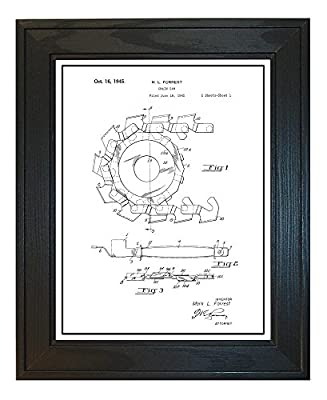 Chain Saw Patent Art Print with a Border in a Solid Pine Wood Frame M14273