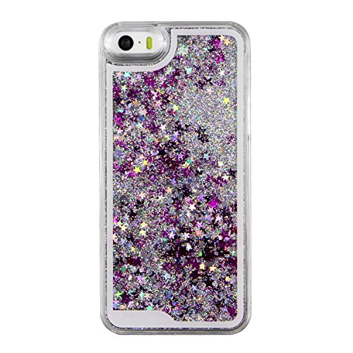 iPhone SE Hülle Transparent,iPhone SE Hülle Glitzer,iPhone 5S Schutzhülle Hülle Hard Case Liquid Cover für iPhone SE,EMAXELERS iPhone 5 Hülle Clear Bling Luxus Shiny Glanz Glitter Glitzer Sparkle Hart