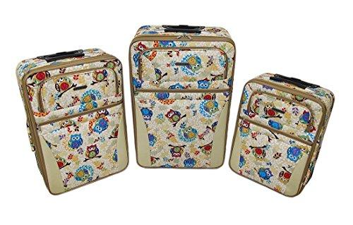 Zeckos Nylon Womens Luggage Sets 3 Piece Retro Owl Print ...
