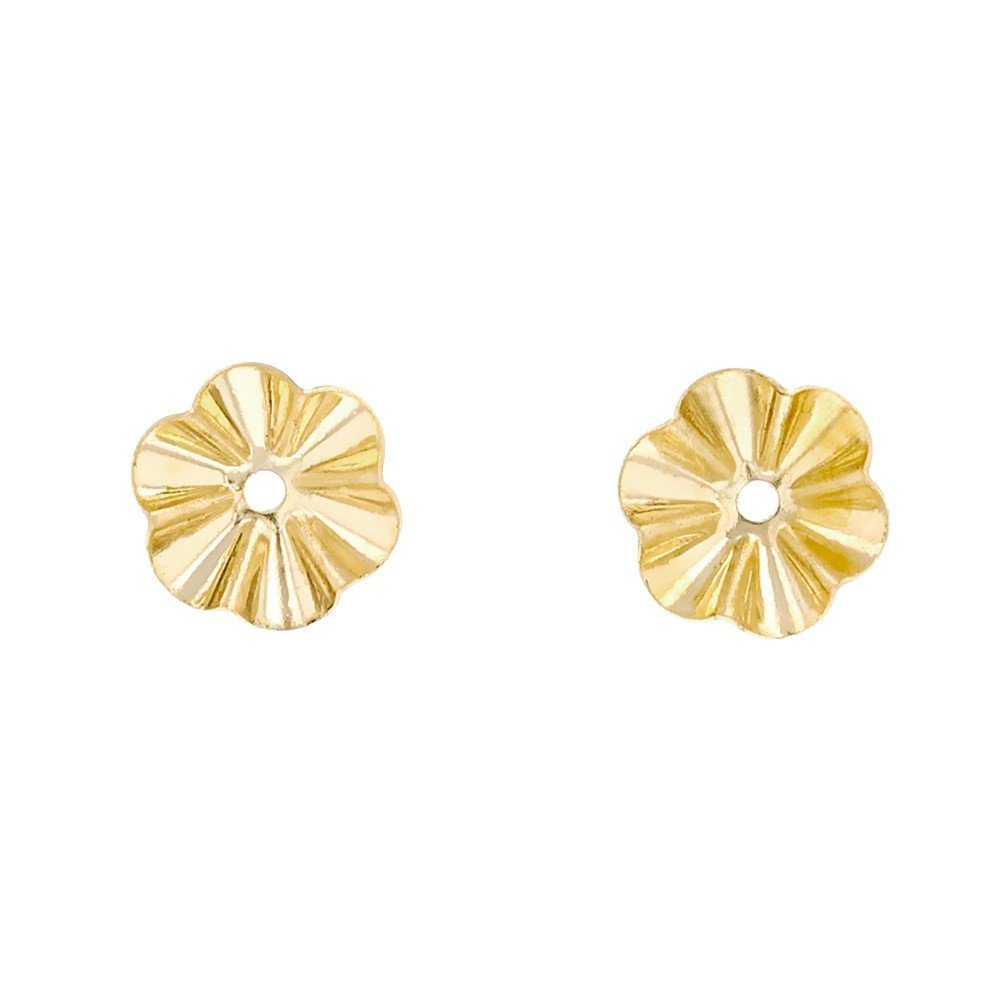 14 Karat Yellow Gold 6.75 Millimeter Diameter Buttercup Earring Jackets