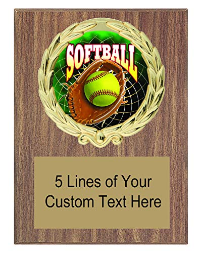 Award Plaques Wreath - Express Medals 5x7 Walnut Color Softball Plaque Award Trophy with Engraved Plate FCL547