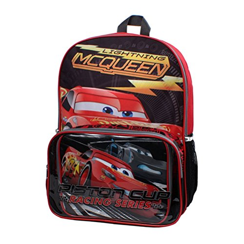 Disney Boys' Cars 3 Top Speed 15.5 inch Backpack Lunch Set, Red