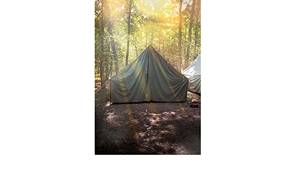 CSFOTO 10x8ft Camp Backdrop Camping Theme Party Wild Hiking Picnic Scout Tent Autumn Forest Lake Water and Trees Sunshine Background for Photography Adults Portrait Vinyl Wallpaper