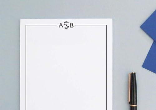 Mens Monogrammed notepad Mens Classic Notepad set Initial monogram notepad NP030 Mens Personalized Monogram notepad set