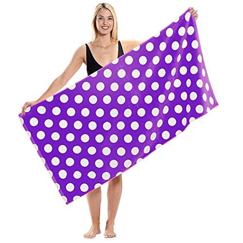 Terry Velour Polka Dot Beach Towel (1 Towel, Purple)