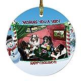 Home of Australian Shepherd 4 Dogs Playing Poker Photo Round Christmas Ornament