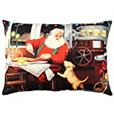 Premium Decorative Cushion Throw Pillow Hypoallergenic Stuffer Silicone Filling (13'' x 19'') | Boat Dog Restaurant Santa Claus New Year Gift Noel Home 50% Cotton 50% Polyester