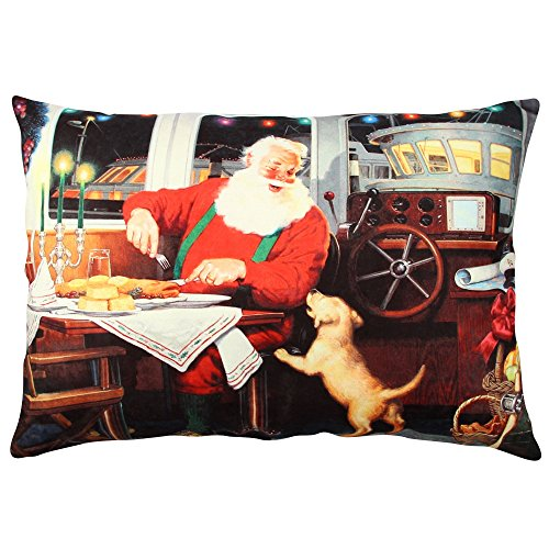 Premium Decorative Cushion Throw Pillow Hypoallergenic Stuffer Silicone Filling (13'' x 19'') | Boat Dog Restaurant Santa Claus New Year Gift Noel Home 50% Cotton 50% Polyester by LaModaHome