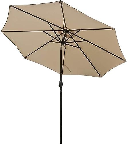 9ft Patio Table Umbrella Beige Outdoor Deck Umbrella Parasol