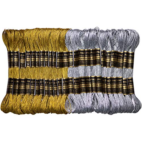 Metallic Embroidery Thread – Embroidery Floss-Cross Stitch Threads – Friendship Bracelets Floss – Crafts Floss – 24 Skeins for Embroidery Embellishment Craft Needlework Decorative Gold and Sliver