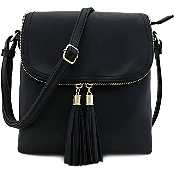 Flap Top Double Compartment Crossbody Bagwith Tassel Accent Black