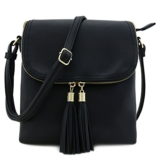 Flap Top Double Compartment Crossbody Bag with Tassel Accent Black
