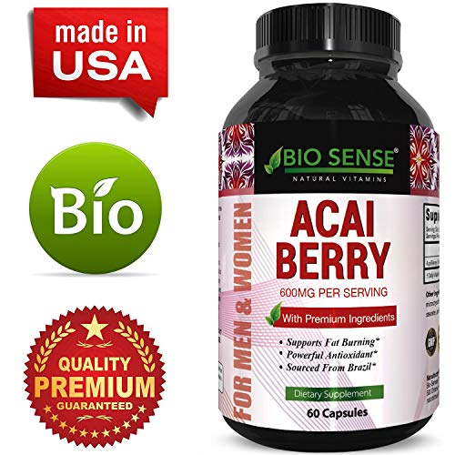 100% Pure Natural Acai Berry Weight Loss Supplement Detox Products Anti-Aging Antioxidant Superfood Cleanse and Burn Fat Improve Health Boost Energy Cardiovascular Health and Digestion ()