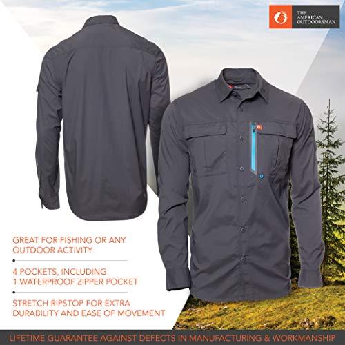 d11e1fb2 Amazon.com: American Outdoorsman Men's Long-Sleeve Fishing Shirt Blackfoot  River, Moisture-Wicking Button-Up Clothes/Apparel: Clothing