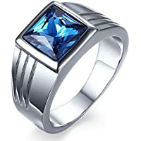 Mens Blue Sapphire Stainless Steel Size 7,8,9,10,11 Fashion Wedding Ring Gift (9)