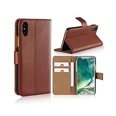 Smart Fitsport Cover iPhone -Custodie per iPhone X/XS 5/5S 5C 6/6s 6 Plus 7/8 7 Plus/8 Plus Portafoglio Custodia Pelle (Marrone, for iPhone 6/6s)