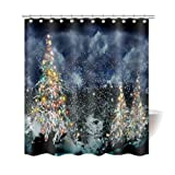 Gwein Christmas Tree Outdoor Home Decor Shower Curtain Polyester Fabric Mildew Proof Waterproof Cloth Shower Room Decor Shower Curtains 66x72