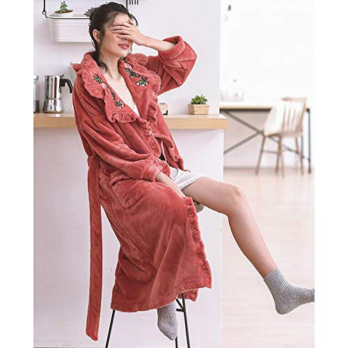 Engrosada Coral Franela Pijamas Mujer Pomegranatered Olliuge Albornoz Moda Mujeres Las Sexy Camisón Invierno Para De Terciopelo Cálido ASxPqw