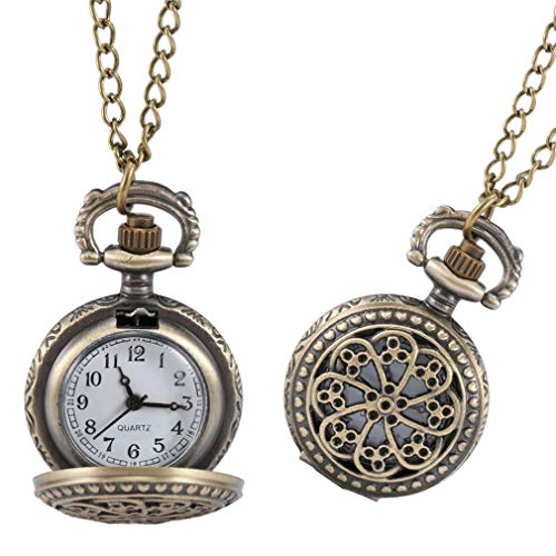 Fashion Vintage Women Pocket Watch Alloy Retro Hollow Out Flowers Pendant Clock Sweater Necklace Chain Watches Lady Gift LL@17 Style 5