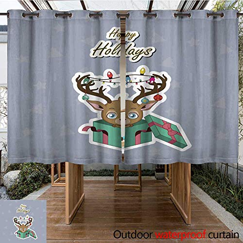 Outdoor Curtains for Patio Sheer Greeting of a Cute Reindeer with Decorated Antlers W63 x - Antler Decorated Pipe