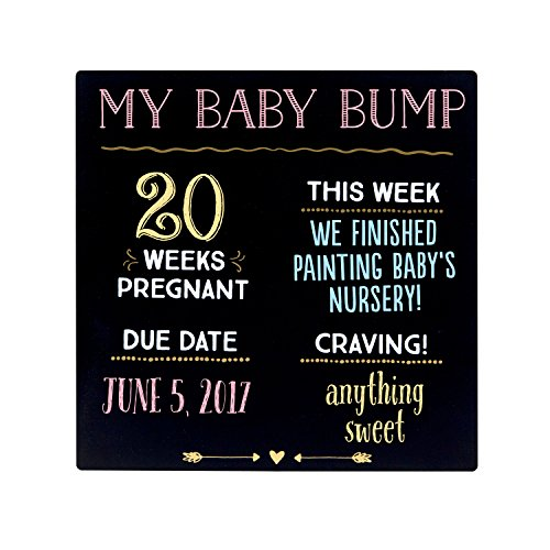 "Pearhead""My Baby Bump"" Reusable Photo Sharing Pregnancy Chalkboard with Included Chalk for Expectant Mothers"