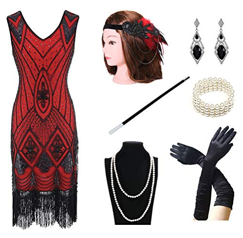 1920s Women's Gatsby Costume Flapper Dresses V Neck Fringed Dress with 20s Accessories Set of 7 Red -
