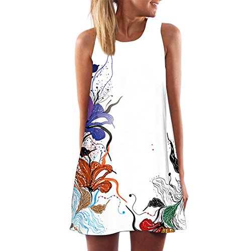 TnaIolral Vintage Boho Women Summer Sleeveless Beach Printed Short Mini Dress White