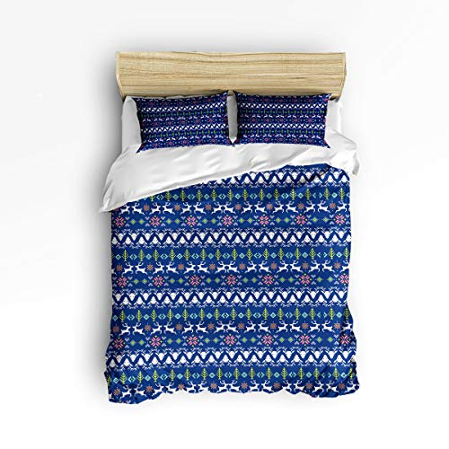 - YEHO Art Gallery King Soft Duvet Cover Set 3 Piece Kids Bedding Sets for Boys Girls,Include 1 Comforter Cover with 2 Pillow Cases,Christmas Stripe Pattern Blue Adult Duvet Cover Set