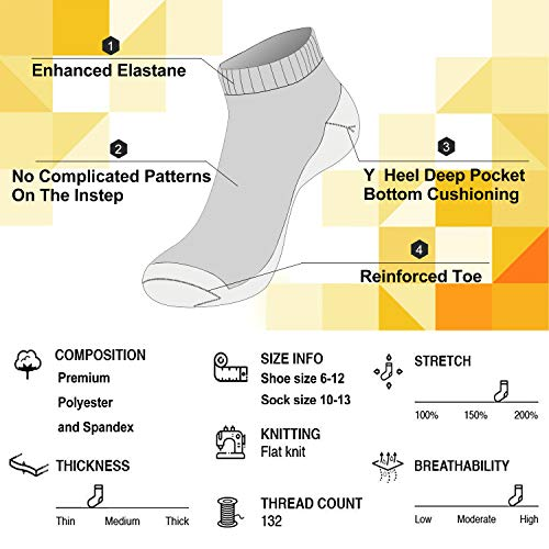 Cooplus 10 Pairs Mens Ankle Socks Thin Breathable Casual Low Cut Lightweight Cushioned Sock