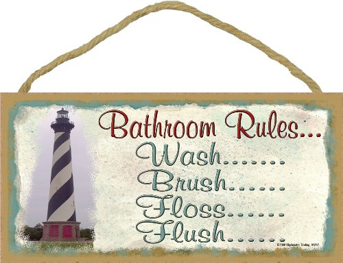 "Blackwater Trading Lighthouse Bathroom Rules Brush Flosh Flush Wash Bath 5""x10"" Sign"