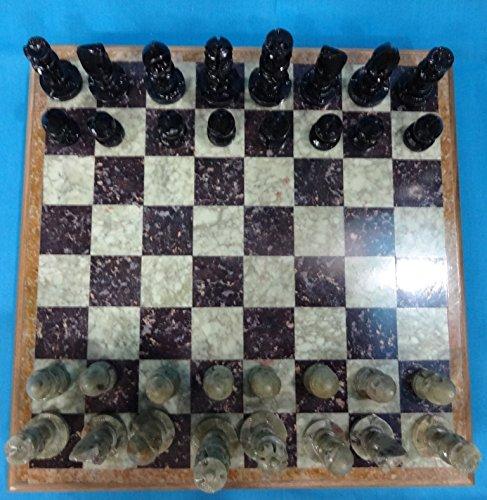 Craftlook Marvelous Marble – Juego de ajedrez de madera de ébano y piedras de ébano (12 unidades)