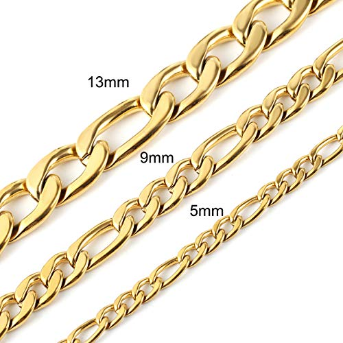 HZMAN Men Women 18k Real Gold Plated Figaro Chain 5mm 9mm 13mm Stainless Steel Bracelet 8.5 Inches