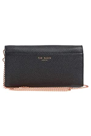 c04c421d1 Ted Baker London Crumble Leather Crossbody Matinée Wallet on a Chain in  Black at Amazon Women s Clothing store