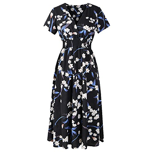 Womens V Neck Holiday Floral Print Midi Dress Lovor Ladies Summer High Waist Beach A-Line Party Swing T-Shirt Dress (Black,M) (Holiday Florals Faux)