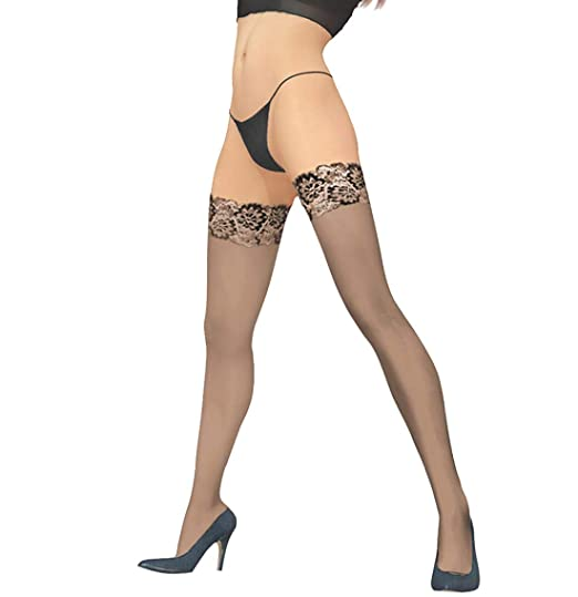01c06c07a02a7b Pariser-Mode sheer hold-up stockings with lace top