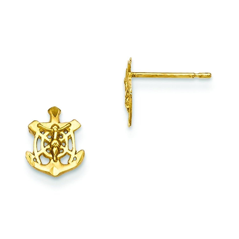 d6f7e5729c0b 14 K oro amarillo Madi K D C de los niños Mariner Crucifijo Post pendientes  gk681