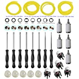 HIFROM Carburetor Tune-up Adjustment Tool Kit Carb Adjusting Screwdriver With Fuel Filter Line Primer Bulb For 2 Cycle Small Engine Craftsman Stihl Poulan Husqvarna