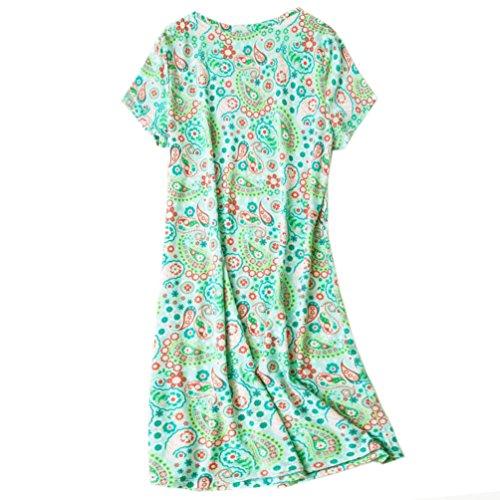 9b690a0315 ENJOYNIGHT Womens Cotton Sleepwear Short Sleeves Print Sleepshirt Sleep Tee  (Cute Drop