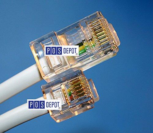 Micros Epson IDN Cable 300319-001 (10 Ft.) RJ45-RJ12 Micros OEM Compatible Printer Cable - Epson TM-T88, TM-u200, TM-u220b + Many More