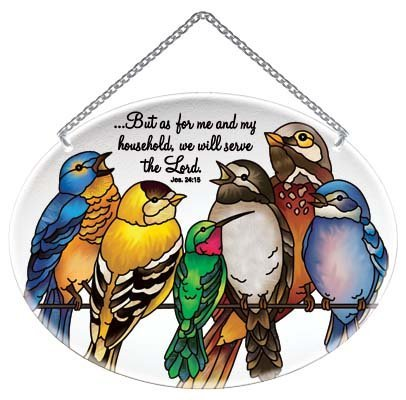 Birds on a Wire As For Me and My House Joshua 24:15 Stained Glass Suncatcher (MO334R) by Joan Baker Designs