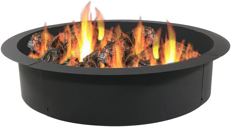 Sunnydaze Fire Pit Ring - Heavy Duty 2mm Think Steel Rim - DIY Above or In-Ground Liner - 42 Inch Outside x 36 Inch Inside - Outdoor Portable Wood Burning Fireplace - for Patio & Backyard Use