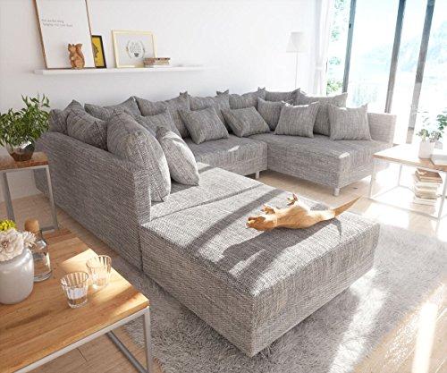 Sofa Clovis erweiterbares Modulsofa Eckcouch Wohnlandschaft (Sofa mit Hocker, Grau)