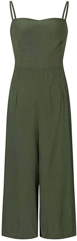 LHVUOA-Pants Women Summer Holiday Sleeveless Backless High Waisted Wide Leg Beach Jumpsuit