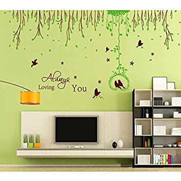 Amazon.com: Lovebirds Green Leaves English Letters Wall Decal PVC ...