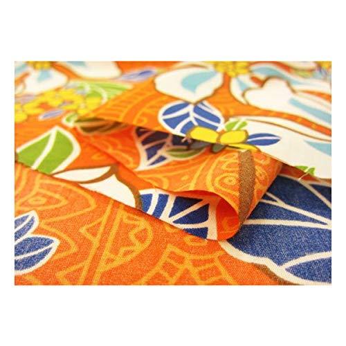 ハワイアン 生地 【オレンジ】エスニック調 T/C ブロード ポリコットン パウスカートなどのフラダンス用品・衣装、カーテンやクッションカバーなどのインテリアなどにもオススメです。【1m単位】の商品画像