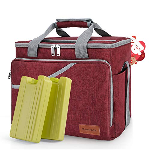 Cooler Bag 40-Can Large, Insulated Soft Sided Cooler Bag with 2 Ice Packs Leak-Proof for Outdoor Travel Hiking Beach Picnic BBQ Party, Red