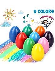 Emooqi Ostergeschenk Wachsmalstifte für Kinder, 9 Colors Kinder Malstifte , Eiförmige Waschbar Wachsmalstifte, Kleinkinder Bunte Malerei Buntstifte Spielzeug fur Kleinkinder, Sicher und Nicht Toxisch