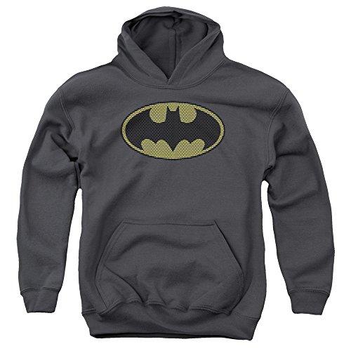 Batman DC Comics Little Bricks Logos Big Boys Youth Pull-Over Hoodie Gray ()